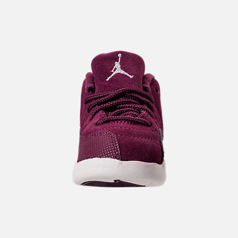 Front view of Kids' Toddler Air Jordan Retro 12 Basketball Shoes in Bordeaux/Sail/Metallic Silver
