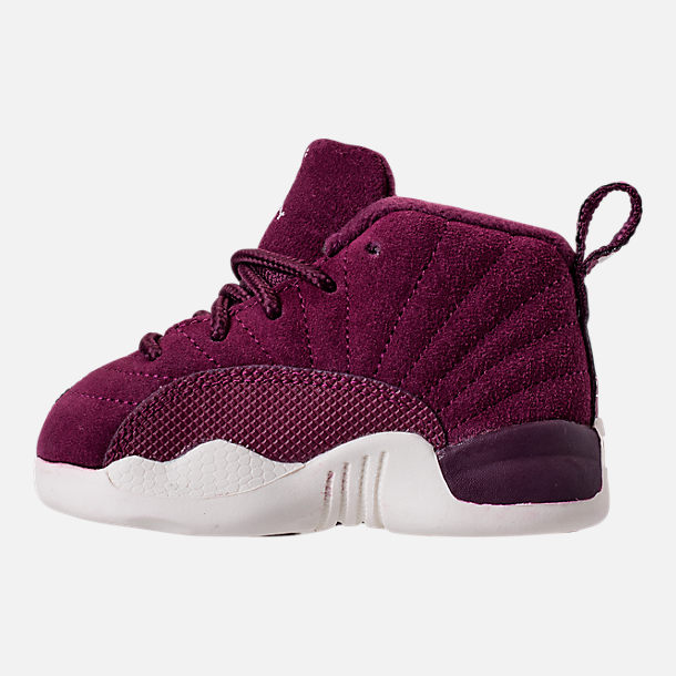 Left view of Kids' Toddler Air Jordan Retro 12 Basketball Shoes in Bordeaux/Sail/Metallic Silver