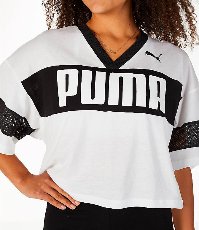 Detail 1 view of Women's Puma Urban Sports Cropped T-Shirt in White/Black