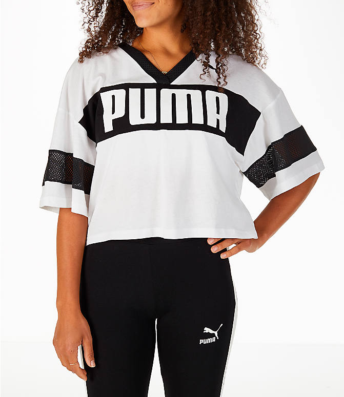 Front view of Women's Puma Urban Sports Cropped T-Shirt in White/Black
