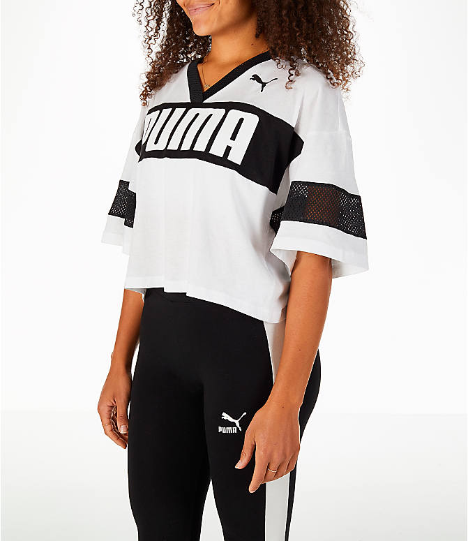 Front Three Quarter view of Women's Puma Urban Sports Cropped T-Shirt in White/Black