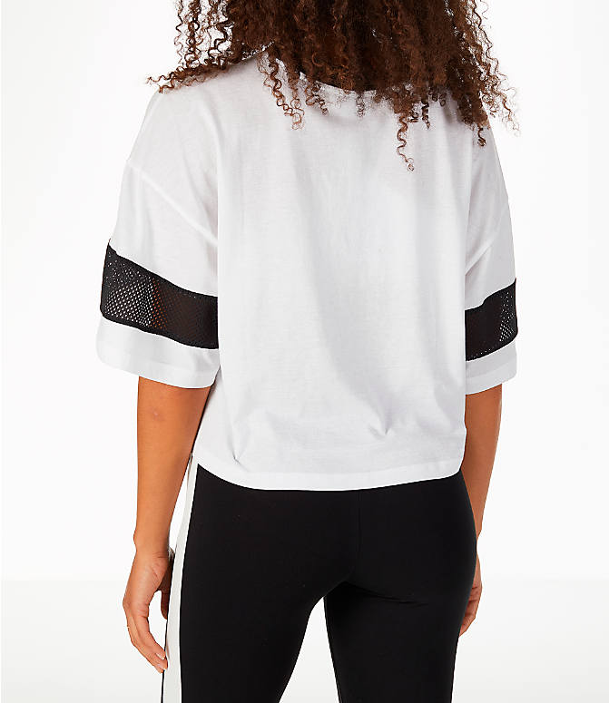 Back Left view of Women's Puma Urban Sports Cropped T-Shirt in White/Black