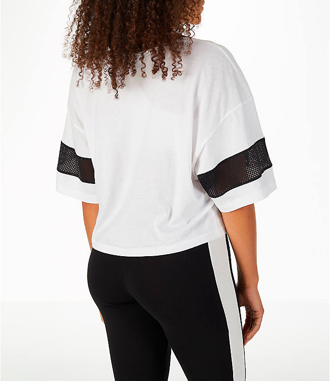 Back Right view of Women's Puma Urban Sports Cropped T-Shirt in White/Black