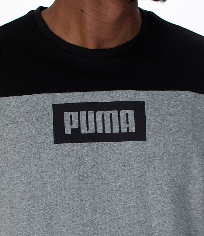 Detail 1 view of Men's Puma Rebel Block T-Shirt in Medium Grey