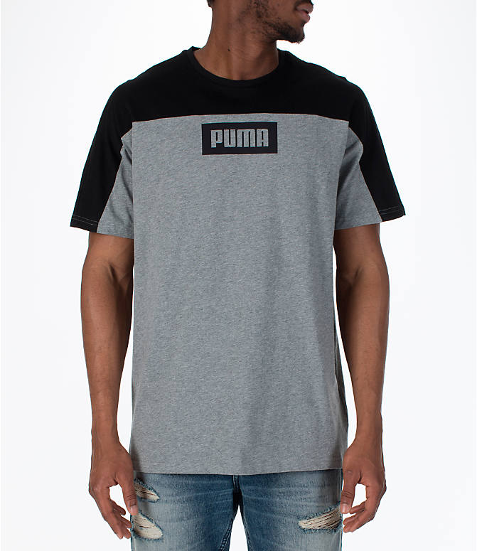 Front view of Men's Puma Rebel Block T-Shirt in Medium Grey
