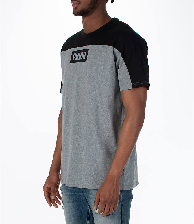 Front Three Quarter view of Men's Puma Rebel Block T-Shirt in Medium Grey