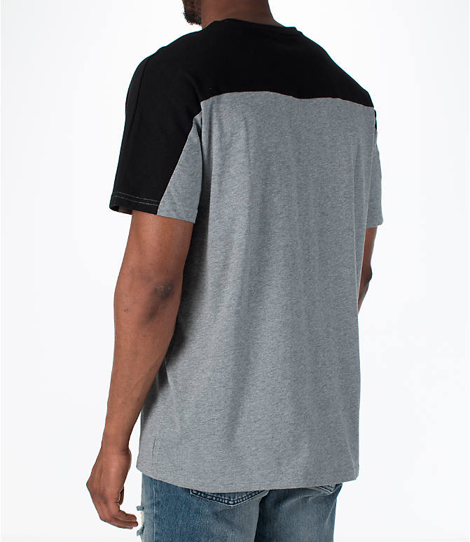 Back Left view of Men's Puma Rebel Block T-Shirt in Medium Grey