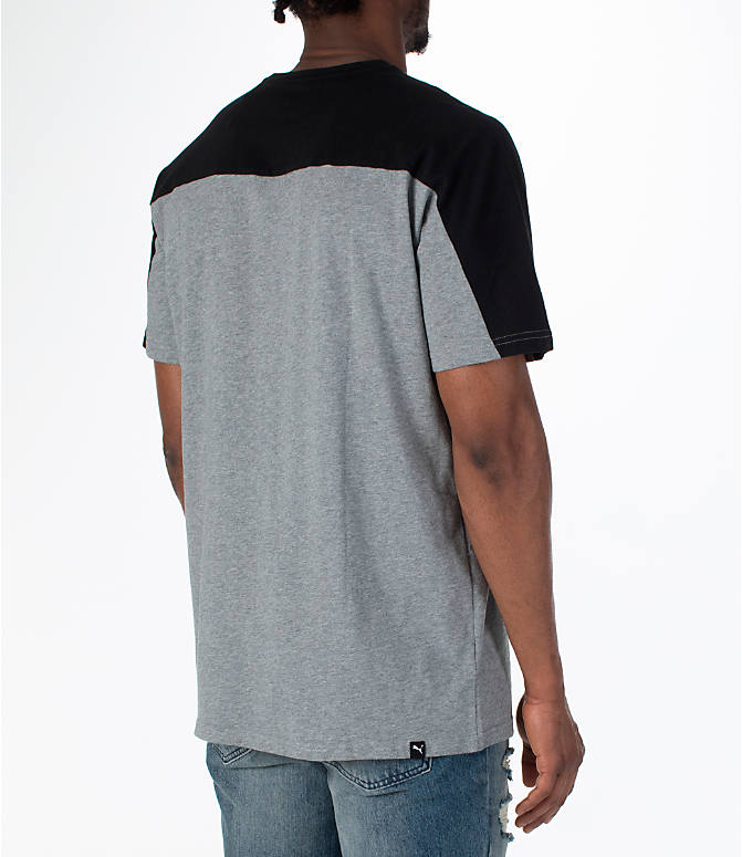 Back Right view of Men's Puma Rebel Block T-Shirt in Medium Grey