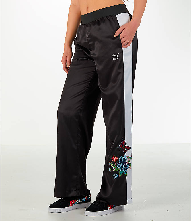 Front view of Women's Puma Premium Archive T7 Tracksuit Wide Leg Trouser Pants in Black/White