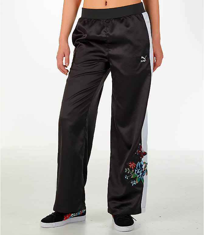 Front Three Quarter view of Women's Puma Premium Archive T7 Tracksuit Wide Leg Trouser Pants in Black/White
