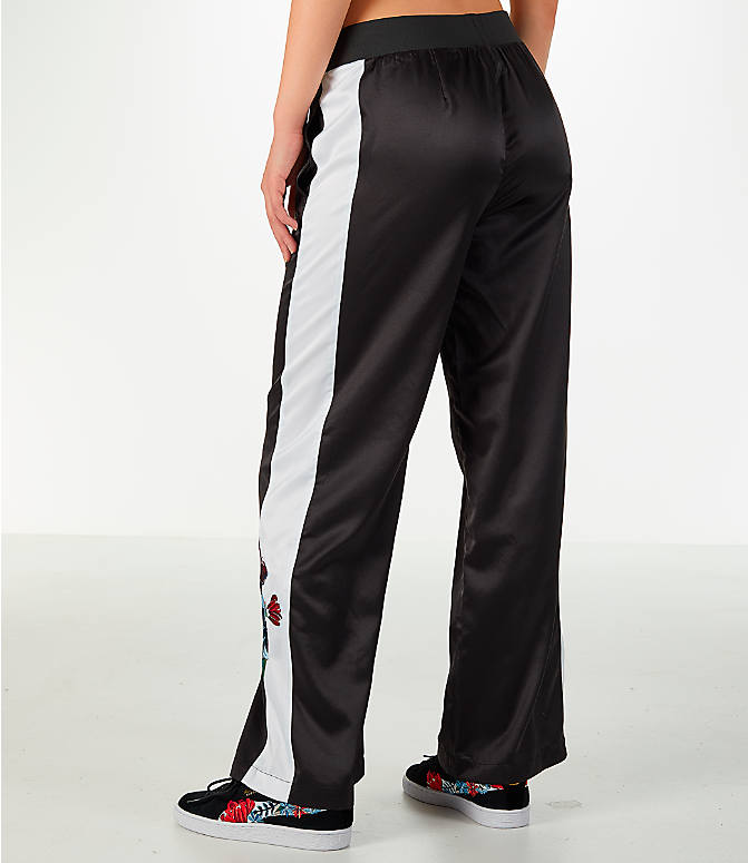 Back Left view of Women's Puma Premium Archive T7 Tracksuit Wide Leg Trouser Pants in Black/White