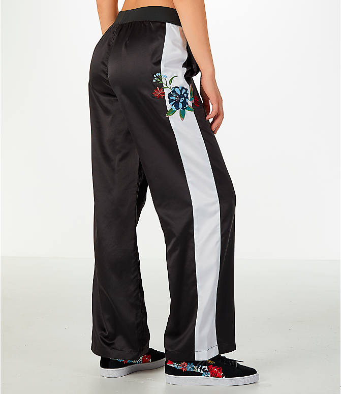 Back Right view of Women's Puma Premium Archive T7 Tracksuit Wide Leg Trouser Pants in Black/White