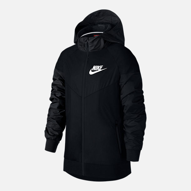Front view of Boys' Nike Sportswear Windrunner Jacket in Black/Black/White