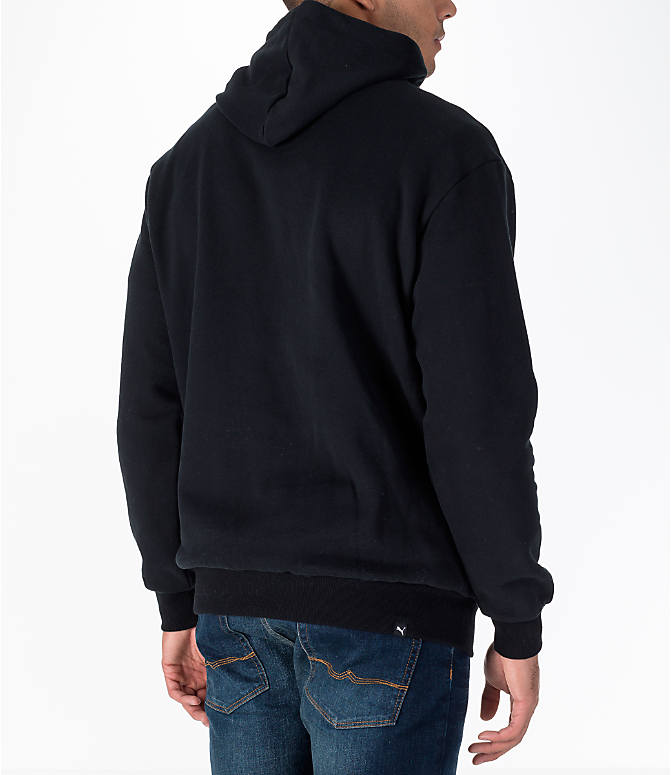Back Right view of Men's Puma Rebel Gold Hoodie in Black/Gold
