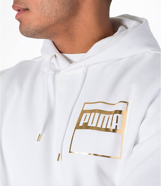 Detail 1 view of Men's Puma Rebel Gold Hoodie in White/Gold