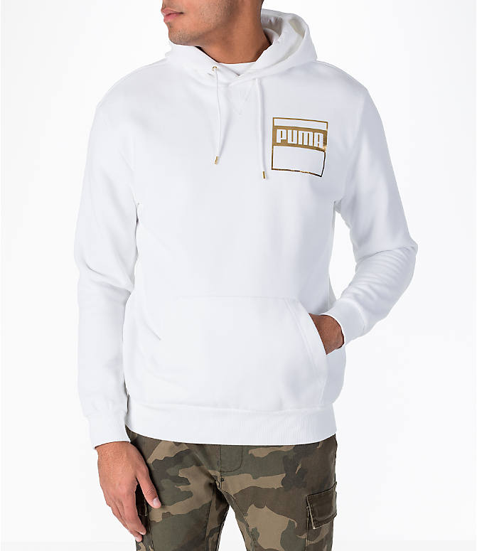 Front view of Men's Puma Rebel Gold Hoodie in White/Gold