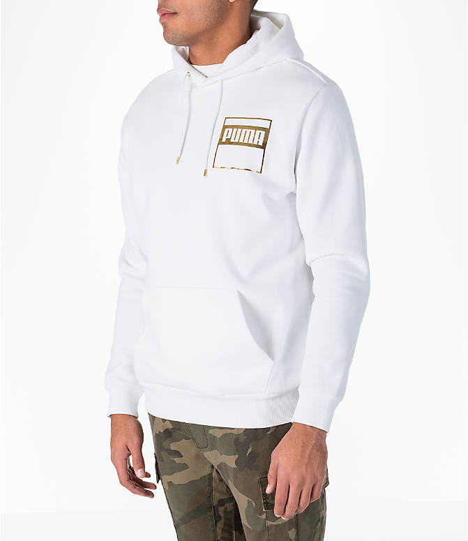 Front Three Quarter view of Men's Puma Rebel Gold Hoodie in White/Gold