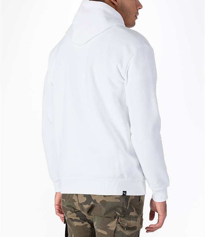 Back Right view of Men's Puma Rebel Gold Hoodie in White/Gold