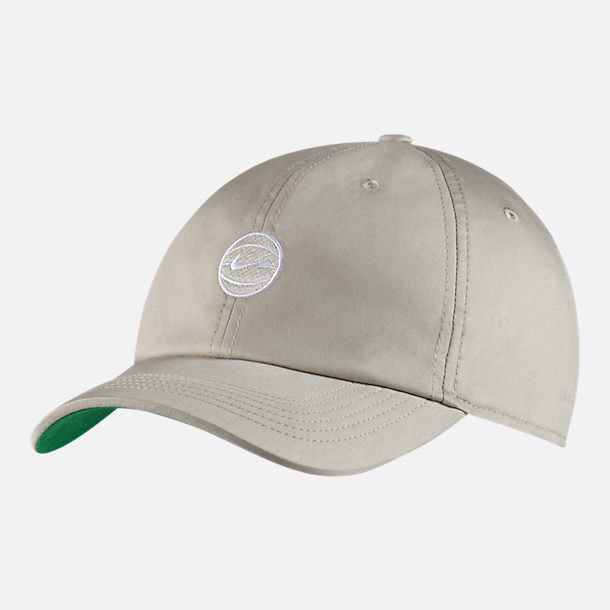 Front view of Nike Heritage 86 Basketball Adjustable Hat in Pale Grey/Pine Green/Igloo