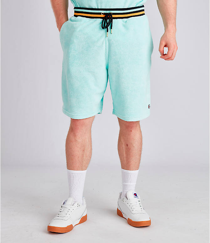 Front view of Men's Champion Life Terry Shorts in Waterfall Green