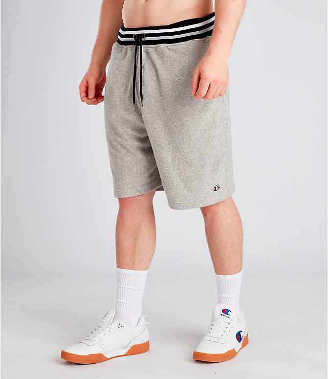 Front Three Quarter view of Men's Champion Life Terry Shorts in Oxford Grey