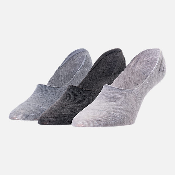 Front view of Women's Finish Line Raw Edge 3-Pack No-Show Socks in Grey