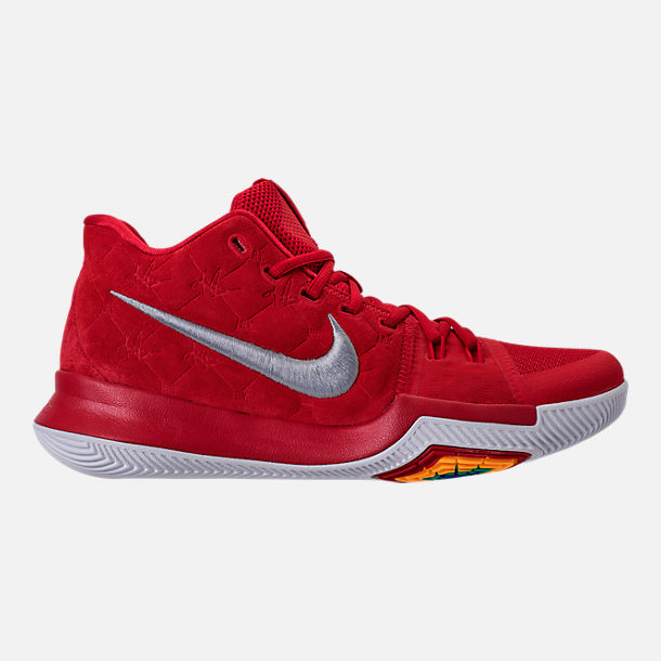 Right view of Men's Nike Kyrie 3 Basketball Shoes in University Red/Wolf Grey