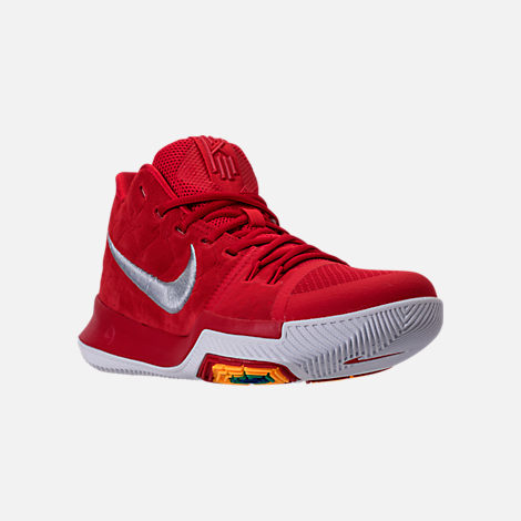 Three Quarter view of Men's Nike Kyrie 3 Basketball Shoes in University Red/Wolf Grey