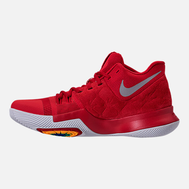 Left view of Men's Nike Kyrie 3 Basketball Shoes in University Red/Wolf Grey