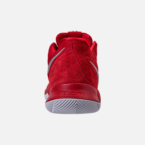 Back view of Men's Nike Kyrie 3 Basketball Shoes in University Red/Wolf Grey