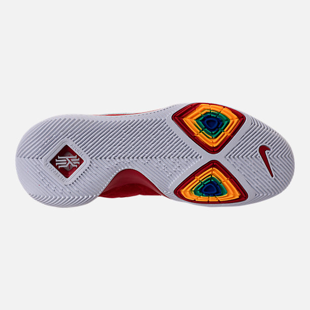 Bottom view of Men's Nike Kyrie 3 Basketball Shoes in University Red/Wolf Grey