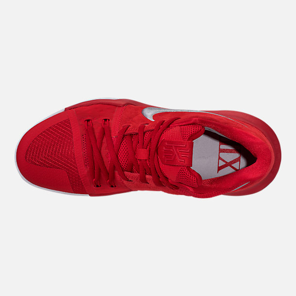Top view of Men's Nike Kyrie 3 Basketball Shoes in University Red/Wolf Grey