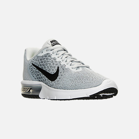 Three Quarter view of Women's Nike Air Max Sequent 2 Running Shoes in Pure Platinum/Black/Cool Grey