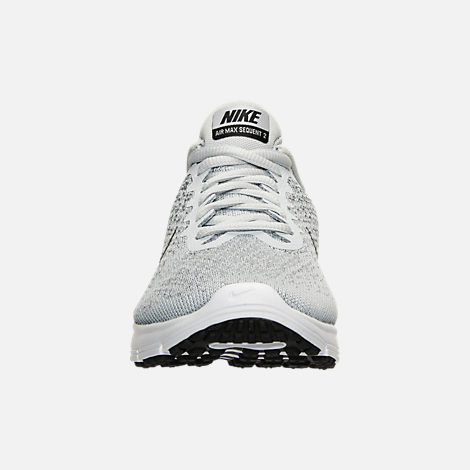 Front view of Women's Nike Air Max Sequent 2 Running Shoes in Pure Platinum/Black/Cool Grey
