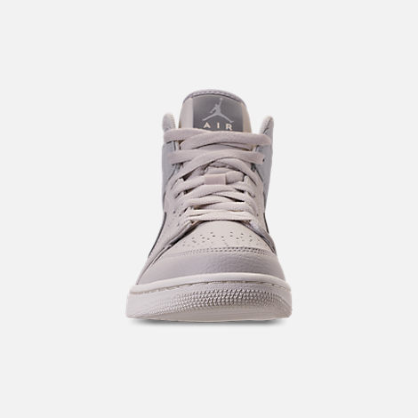 Front view of Men's Air Jordan Retro 1 Mid Premium Basketball Shoes in Light Bone/Grey Fog/Reflect Silver