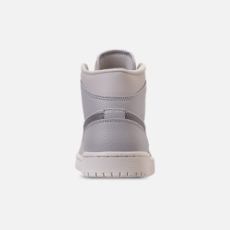 Back view of Men's Air Jordan Retro 1 Mid Premium Basketball Shoes in Light Bone/Grey Fog/Reflect Silver