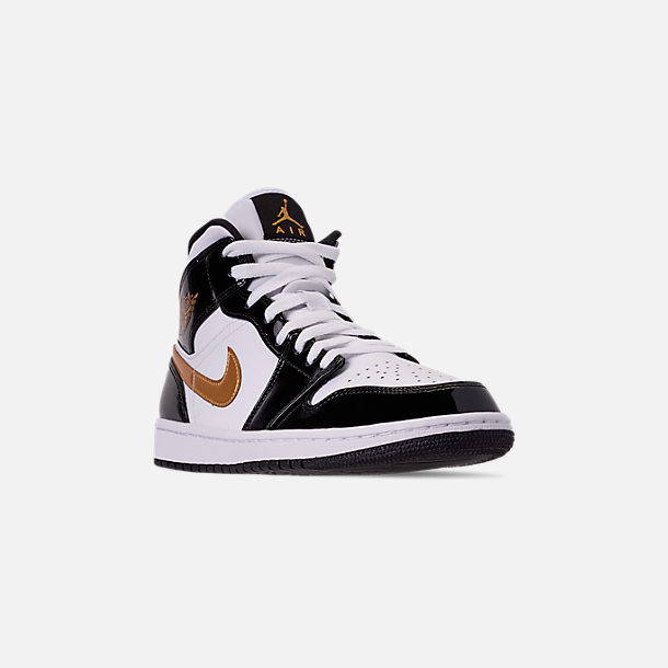 7a0ad3c968ed Three Quarter view of Men s Air Jordan Retro 1 Mid Premium Basketball Shoes  in Black