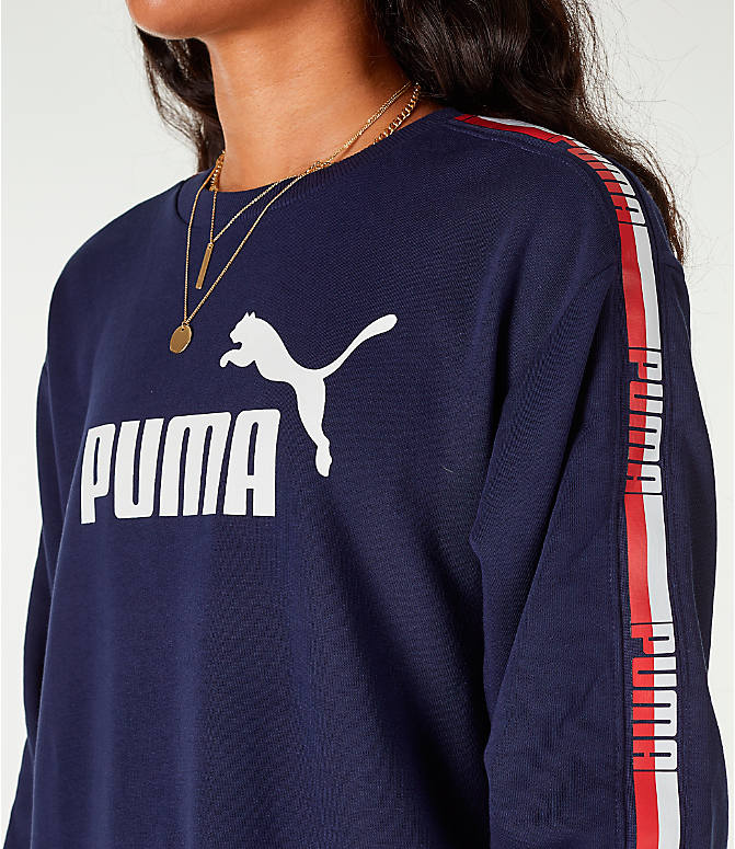 Detail 1 view of Women's Puma Tape Terry Dress in Navy/Red/White