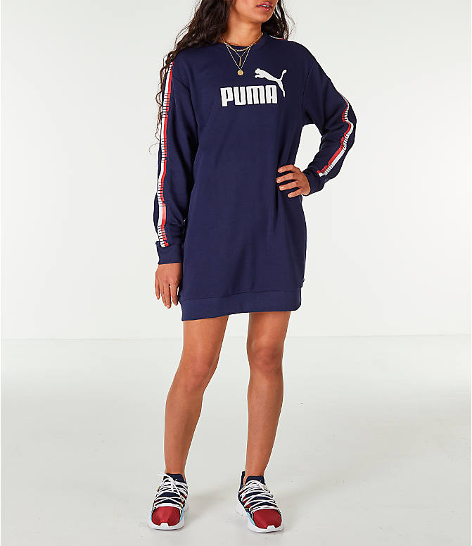 Front view of Women's Puma Tape Terry Dress in Navy/Red/White