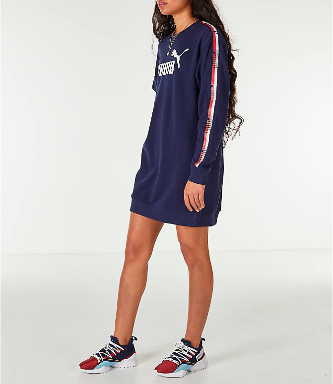 Front Three Quarter view of Women's Puma Tape Terry Dress in Navy/Red/White