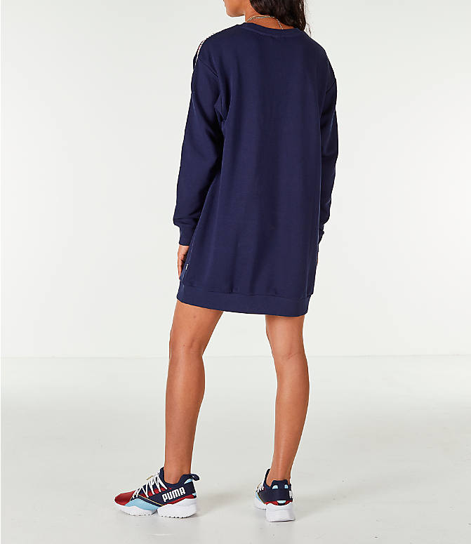 Back Left view of Women's Puma Tape Terry Dress in Navy/Red/White