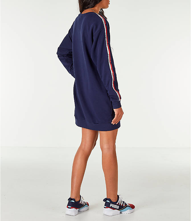 Back Right view of Women's Puma Tape Terry Dress in Navy/Red/White