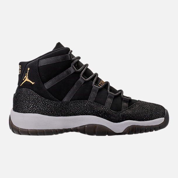 Right view of Girls' Grade School Air Jordan Retro 11 Premium Heiress Collection (3.5y - 9.5y) Basketball Shoes in Black/Metallic Gold/White/Infrared 23