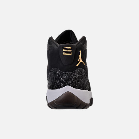 Back view of Girls' Grade School Air Jordan Retro 11 Premium Heiress Collection (3.5y - 9.5y) Basketball Shoes in Black/Metallic Gold/White/Infrared 23