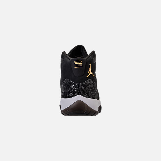 Back view of Girls' Big Kids' Air Jordan Retro 11 Premium Heiress Collection (3.5y - 9.5y) Basketball Shoes