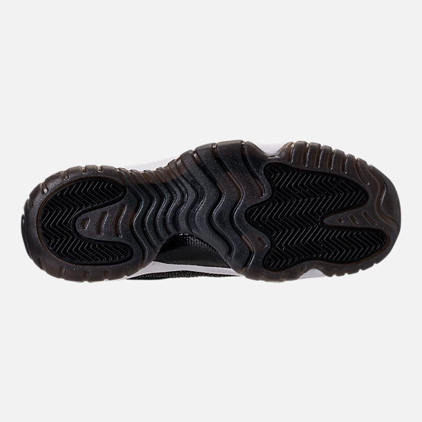 Bottom view of Girls' Grade School Air Jordan Retro 11 Premium Heiress Collection (3.5y - 9.5y) Basketball Shoes in Black/Metallic Gold/White/Infrared 23