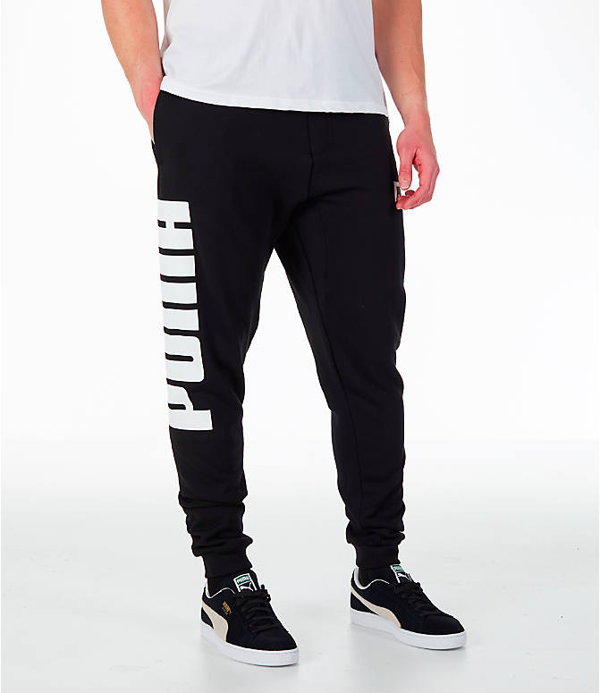 Front view of Men's Puma Rebel Cuffed Jogger Pants in Black