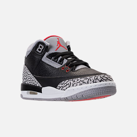 Three Quarter view of Kids' Grade School Air Jordan Retro 3 Basketball Shoes in Black/Fire Red/Cement Grey