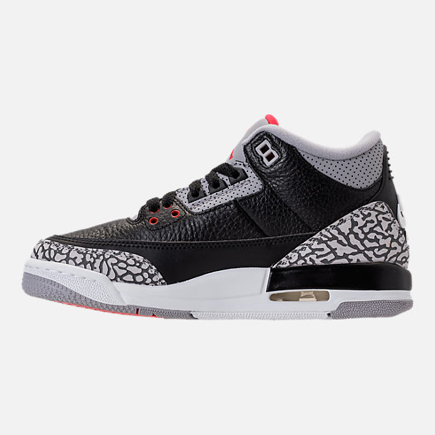 Left view of Kids' Grade School Air Jordan Retro 3 Basketball Shoes in Black/Fire Red/Cement Grey