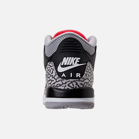 Back view of Kids' Grade School Air Jordan Retro 3 Basketball Shoes in Black/Fire Red/Cement Grey